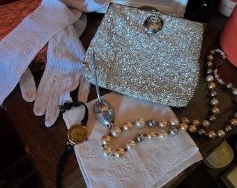 Purse silver 1950s evening bag