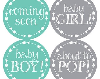 FREE GIFT Pregnancy Stickers, Weekly Pregnancy Stickers, Monthly Pregnancy Stickers, Belly Bump Stickers, Pregnancy Belly, Gift, Teal, Gray