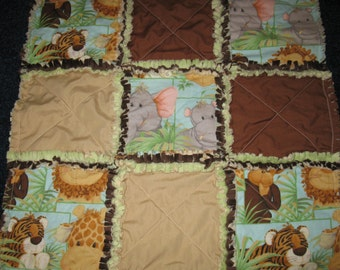Jungle Babies Rag Security Quilt