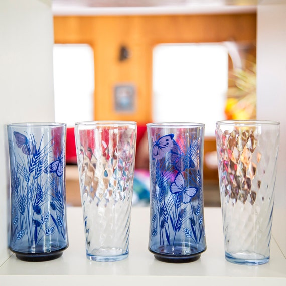 set of four blue butterfly glasses  retro 70s