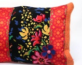 SALE 50%! Embroidered cross stitch pillow, Flowers , 40x23 inch