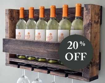 READY TO SHIP - Wine Rack Rustic Modern - Wine Glass Holder - Sale - Wall Hanging Wine Rack Glass Holder - Wine Bottle - Wood Wall Wine