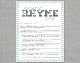 Nursery Rhyme Quiz - Baby Shower Game - Light Blue Chevron