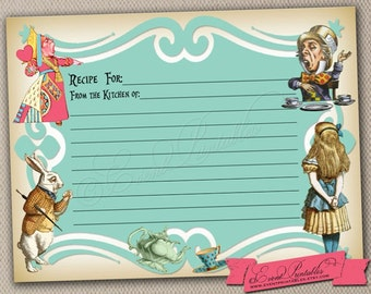Printable Recipe Cards, Alice in Wonderland Tea Party Bridal Shower Game in Blue, DIY INSTANT DOWNLOAD by Event Printables