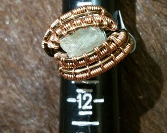 Stunning Handmade Wire Wrapped Citrine Ring (Size 10.5)