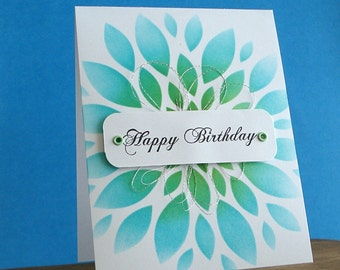 Blue and Green Birthday Card, Large Dahlia Note Card, Hand Made Note Card, Hand Stamped Card, Clean and Simple Card, Carte de Remerciement