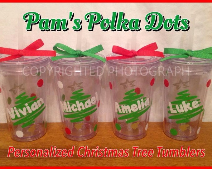 Personalized CHRISTMAS TREE Acrylic TUMBLER with Name Clear Your Choice of 12 or 16 oz. size