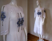 RESERVED Vintage 70s Dress White Sheer Boho Peasant Festival Dress with Embroidery & Lace