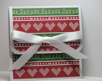 Crosstiched Love Christmas Gift Card Holder