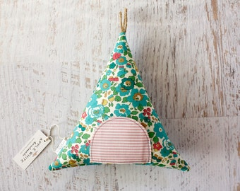 Tooth Fairy Teepee Pillow, Decoprative PIllow, Liberty of London Fabric, Gift For Girls, Children, Stuffed Toy, Keepsake, Tipi