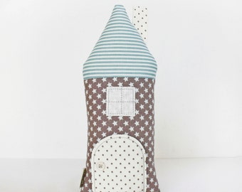 Stars House Pillow, Tooth Fairy Cottage, Blue, Gray Stars, Boys, Girls, Children, Toy,  Stuffed Toy, Keepsake