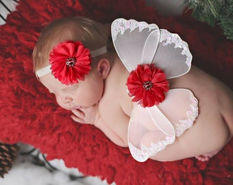 White Newborn Wings, Butterfly Wings, Red Flowers, Rhinestone Centers, Glitter Elastic, Photo Prop, Ready To Ship