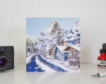 Greeting Card: The Matterhorn (In Blue), Switzerland