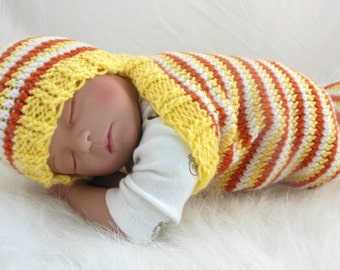 CLEARANCE 30% 0FF--Cocoon, Sleep Sack, Sleep Bag, Blanket, Wrap in Yellow, Orange, White Stripes