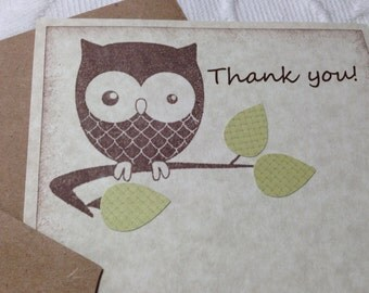 Set of 12 Flat Thank You Owl Card With Green Leaves And Envelopes  - Gender Neutral - Baby Shower - Birthday