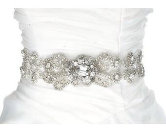 SALE SOPHIA Wedding bridal crystal beaded sash , rhinestone belt sash, crystal belt