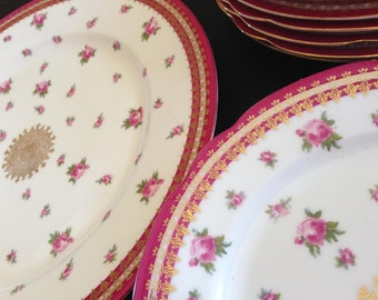 Vintage Cake Service Plates, Set of 11, Made in Austria, Deep Pink, Gold and Roses, Gold Medallion