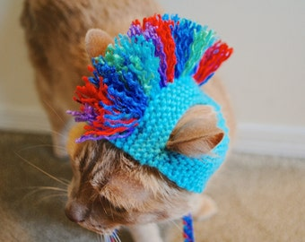 Mohawk Cat Hat - Teal and Green, Purple, Blue Tie Dye - Hand Knit Cat Costume (READY TO SHIP)