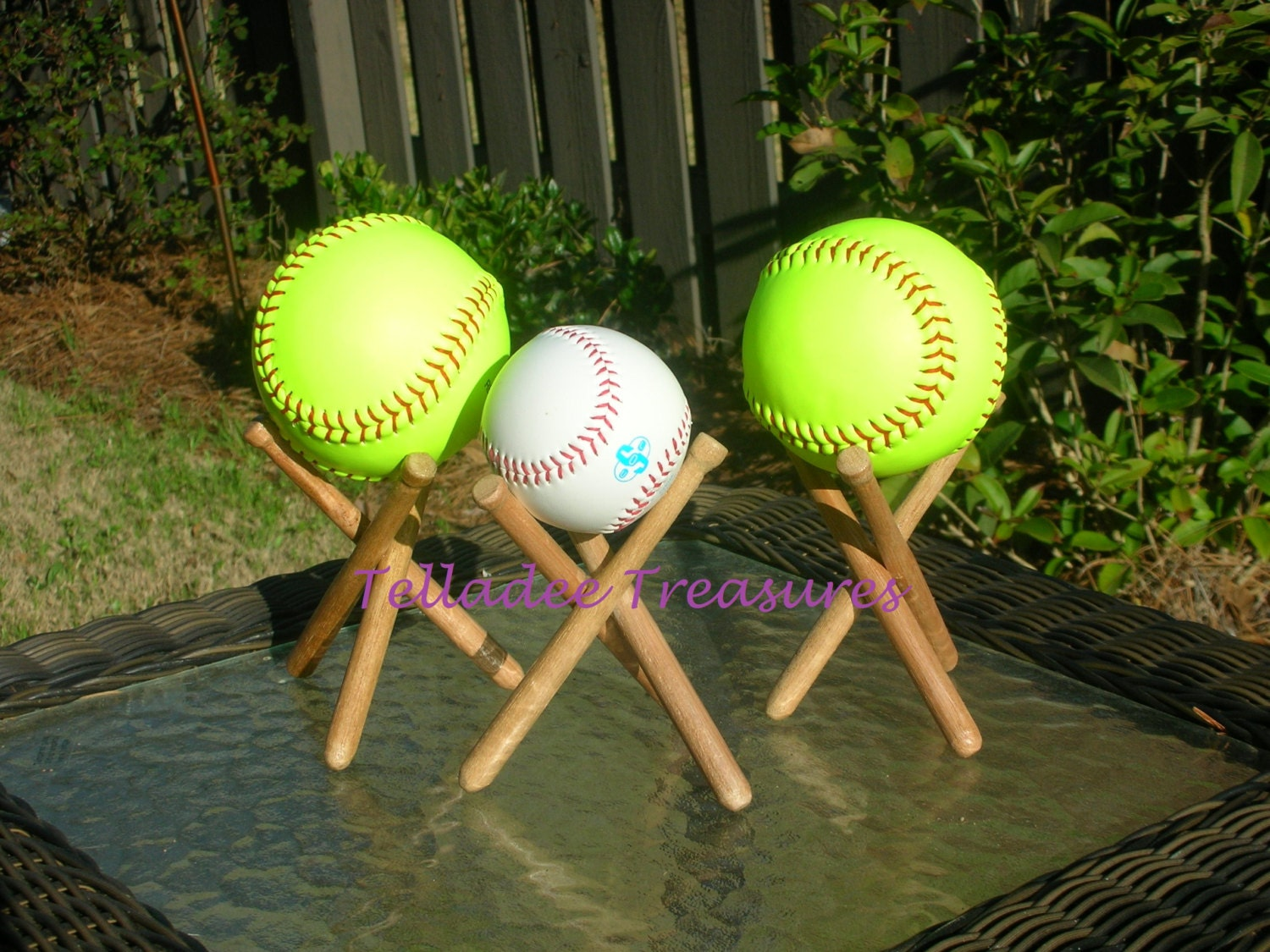 Baseball Softball Display Stand Bat Ball Style Handmade