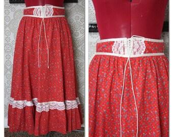 Vintage 1970's Red Calico Gunne Sax Boho Prairie Skirt  Small