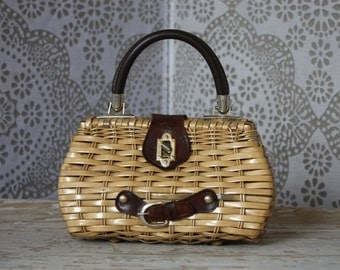Vintage 1960's Woven Wicker Mini Purse Made in Hong Kong