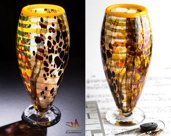 Unique Hand Blown Art Glass Vase - Tall Abstract Random Earth Tone