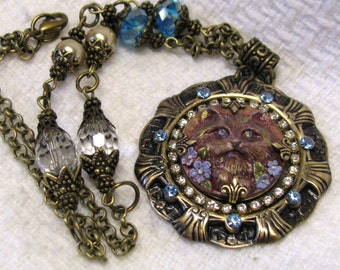 Art Deco Antique Brass Cat Cameo Necklace, Hand Painted Resin Cat Cameo Necklace, Kitty Cat Cameo Necklace