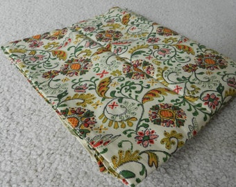 Vintage cream, tan, green and orange red florals and swirls cotton fabric 1 yard