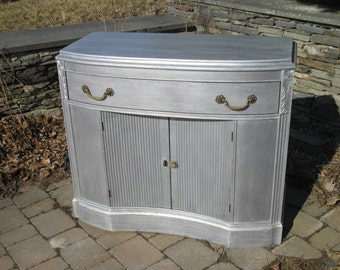 SOLD ** Chic and Shabby Metalic Silver Cabinet / Server / Buffet / Console / TV Stand