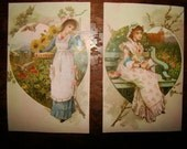 2 Lovely Victorian Trade Cards Valentines Lithograph