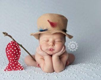 Tiny Fisherman Set Newborn Fishing Prop Newborn Photo Prop Newborn Fishing Hat