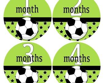Soccer Baby Stickers, Green and Black Bodysuit Stickers, Milestone Stickers, Monthly Age Stickers, Soccer Nursery Decor (353)