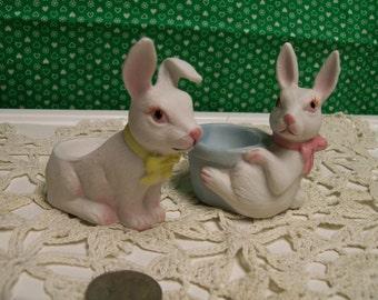 Rabbit Egg Holders Bisque Set of 2 1980s