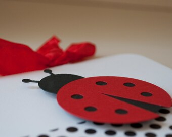 Ladybug First Birthday Party Thank You Notes Cards Baby Shower Baby Girl Lady Bug Red Black Polka Dots