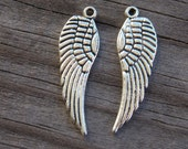 10 Antiqued Silver Wing Charms 30mm