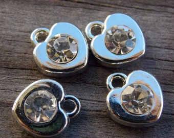 6 Silver Heart Charms with Crystal 11mm