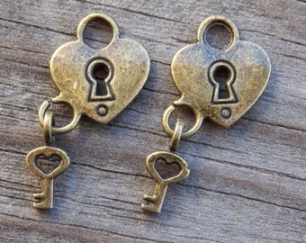 8 Bronze Lock and Key Charms 26mm Heart Shaped Padlock with Tiny Key Dangle Antiqued Bronze