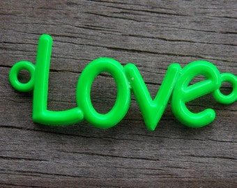 3 Green Love Connector Charms 40mm Curved for Bracelets