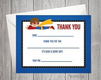 Fill In the Blank Thank You Notes - Super Hero Themed