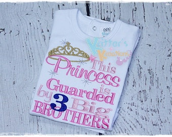 This Princess is Guarded By 2 Big Brothers - Embroidered Applique Shirt