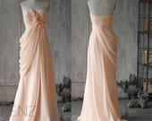 2016 Peach Chiffon Bridesmaid dress, Chiffon Rosette Flower, Wedding Dress, Ruffle Draped Formal Dress, Floor Length with a Train(F073)-RENZ