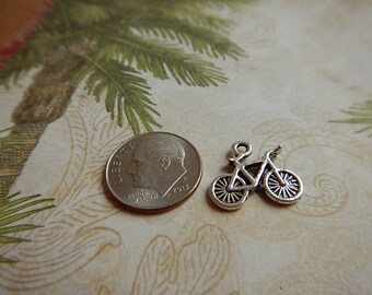 SALE!! 50% OFF!! Silver Plated Pewter Bike Bicycle Charm Two Sided Jewelry