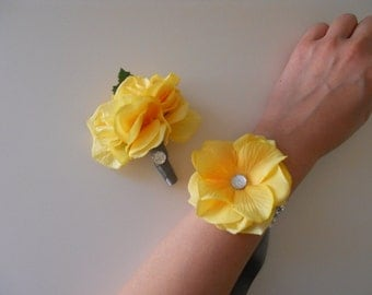 Yellow Hydrangea Petal Wrist Corsage with Silver Gray Rhinestone Accent and Matching Bout