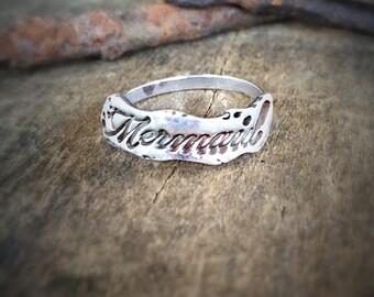 Mermaid Silver Ring, Beach Jewelry Statement Ring, Sterling Mermaid Ring, Ocean Jewelry Stacking Ring, Boho Jewelry