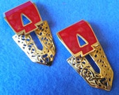 Vintage Berebi Red Enamel Goldtone Pierced Earrings