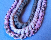 Three Recycled T-shirt Chain Necklaces - purple and grey - crochet tshirt yarn tarn