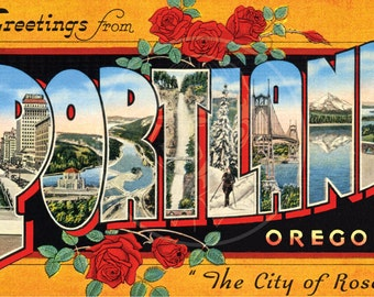 Greetings from Portland, OR (style 1) - 10x16 Giclée Canvas Print of a Vintage Postcard