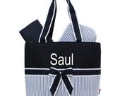 Personalized Seersucker Diaper Bag Set Baby Boy or Girl  Navy & White Diaperbag 3 piece set Monogrammed FREE