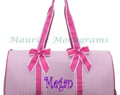 Personalized Large Seersucker Duffel Bag Gym Dance or Overnight Pink and White - Monogram FREE