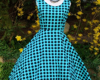Polkadots Vintage inspired Summer 50s Dress - in Tourquise